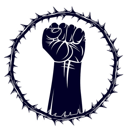 Slavery theme illustration with strong hand clenched fist fighting for freedom against blackthorn thorn, vector logo or tattoo, through the thorns to the stars concept.