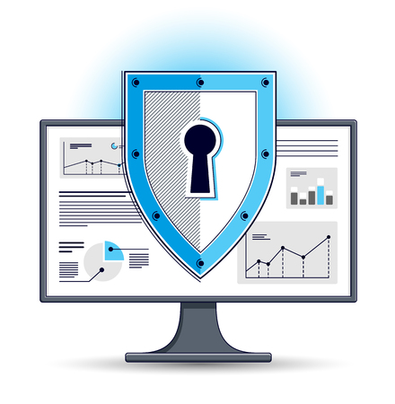 Shield over computer monitor, private data security concept, antivirus or firewall, finance protection, vector flat thin line design, elements can be used separately. Vektorgrafik