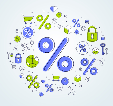 Percent symbol taxes, return on investment, refund, stock market, refinance, bookkeeping and accounting, vector design.