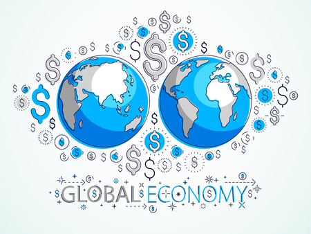 Global business concept, planet earth with dollar icons set, international economy, currency exchange, internet global network connection, vector, elements can be used separately. Illustration