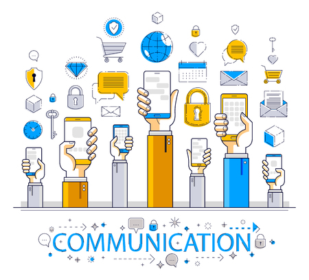 Internet communication and activity, people hands holding phones and using apps, global network, modern communication, messenger or social media concept, vector design. Illustration
