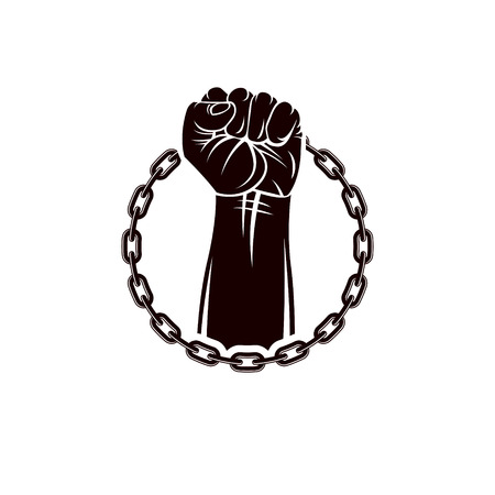 Vector illustration of muscular clenched fist of strong man raised up and surrounded by iron chain. Global authority as the means of political and social influence