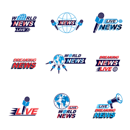 Social announcement logo, emblems and leaflets collection. Vector Earth, journalistic microphones and loudspeakers equipment composed with news, breaking news and world live news inscription.