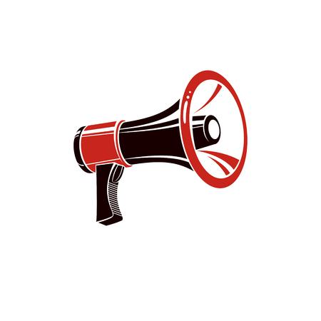 Loudspeaker vector illustration isolated on white. Brainwashing theme, hoax and fiction