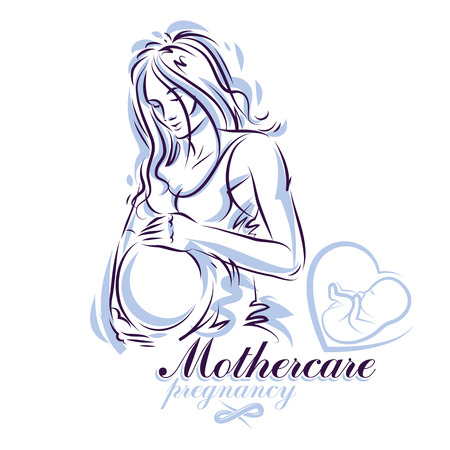 Elegant pregnant woman body silhouette drawing. Vector illustration of mother-to-be fondles her belly. Obstetrics and gynecology clinic advertising banner 矢量图像
