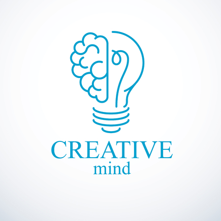 Creative brain concept, intelligent creation vector logo. Light bulb with half of human anatomical brain. Bright mind, thinking and brainstorming idea icon.
