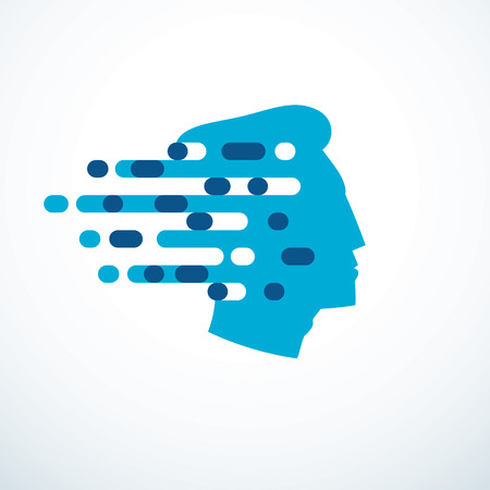 Brainstorm concept, vector design of human head profile with thoughts moving fast. Vector logo or icon template. Stock Vector - 119251341