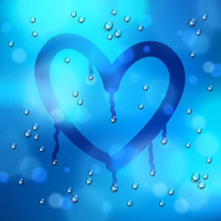 Heart drawn on a window over blurred background and water rain drops, vector realistic illustration, loneliness sadness and missing beautiful art.