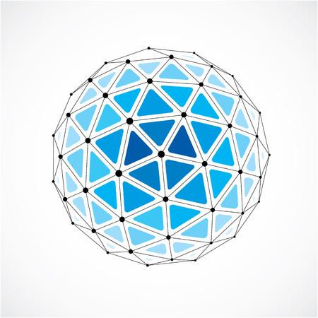 Forme de technologie de perspective avec des lignes noires et des points connectés, objet filaire polygonal. Élément à facettes abstrait isolé sur blanc pour une utilisation comme structure de conception sur le thème de la technologie de communication
