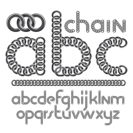 Vector script, modern alphabet letters, abc set. Lower case creative font made with steel chain link, joined link.