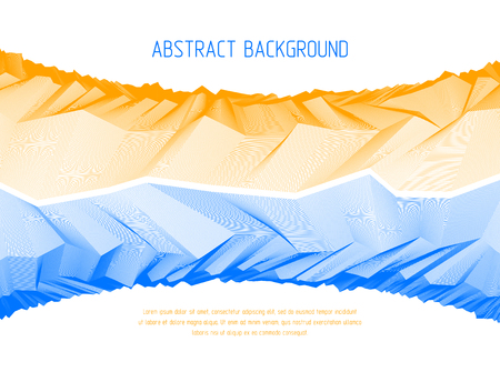 Line art 3d abstract vector background with geometric linear terrain surface of fantastic cosmic planet landscape, science fiction illustration. Usable as template for layout with copy space for title