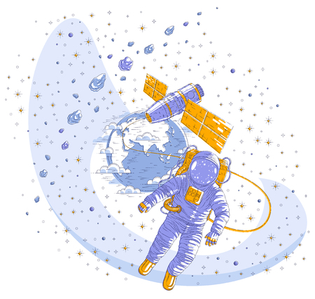 Spaceman flying in open space connected to space station and earth planet in background, astronaut man or woman in spacesuit floating in weightlessness and spacecraft, asteroids and stars. Vector.
