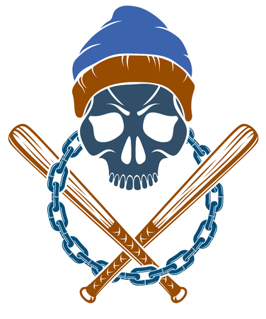 Criminal tattoo ,gang emblem or logo with aggressive skull baseball bats design elements, vector, bandit ghetto vintage style, gangster anarchy or mafia theme.