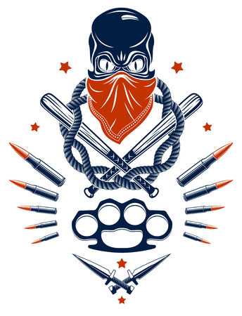 Gangster emblem logo or tattoo with aggressive skull baseball bats and other weapons and design elements, vector, criminal ghetto vintage style, gangster anarchy or mafia theme. 矢量图像