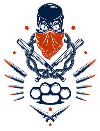 Logotipo del emblema de gángster o tatuaje con bates de béisbol de calavera agresivos y otras armas y elementos de diseño, vector, estilo vintage del ghetto criminal, anarquía de gángsters o tema de la mafia.