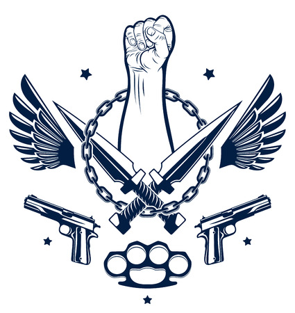 Revolution and Riot aggressive emblem or logo with strong clenched fist, weapons and different design elements , vector tattoo, anarchy and chaos, rebel partisan and revolutionary. Illustration