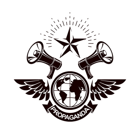 Simple vector emblem created using Earth planet illustration composed with wings and loudspeakers equipment. Propaganda as one of the methods of global psychological warfare. 일러스트