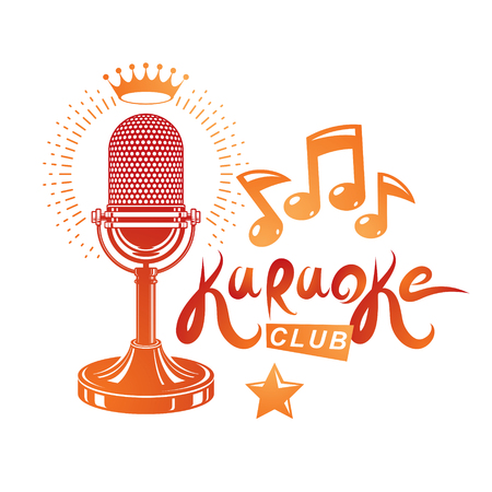 Nightclub karaoke advertising poster composed with stage or recorder microphone vector illustration and musical notes. Superstar performance advertising announcement.