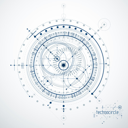 Engineering technological vector wallpaper made with circles and lines. Modern geometric composition can be used as template and layout. Abstract technical background.