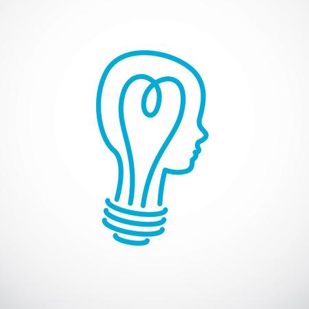 Kreatives Gehirnkonzept, intelligentes Personenvektorlogo. Glühbirne in Form eines Kinderkopfprofils. Helle Gedanken-, Denk- und Brainstorming-Ideenikone.