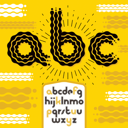 Vector lower case modern disco alphabet letters, abc set. Rounded bold font, typescript for use as retro poster design elements. Made with flowing lines. Stock fotó - 124262371