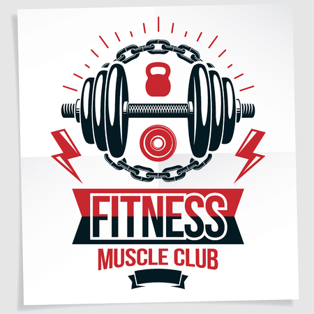 Fitness center vector marketing banner made using disc weight dumbbell and kettle bell sport equipment surrounded by iron chain. Illustration