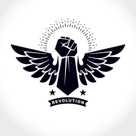 Starke Faust eines aktiven Sportlervektorsymbols, das unter Verwendung von Adlerflügeln und -sternen erstellt wird. Abstraktes Emblem des kämpfenden Vereins.