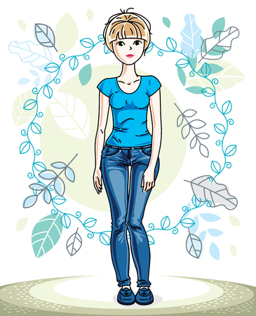 Attractive young blonde woman standing on background of spring landscape with blue leaves and wearing stylish casual clothes. Vector human illustration.