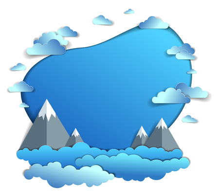 High mountain peaks range scenic landscape of summer with clouds in the sky, frame or border with copy space, paper cut style childish illustration, holidays, travel and tourism theme.