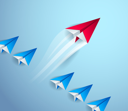 Be special, be first pioneer, be leader, leadership and success concept, line of origami paper toy planes one of them is standing out of line and taking off, 3d realistic vector illustration. Vector Illustration