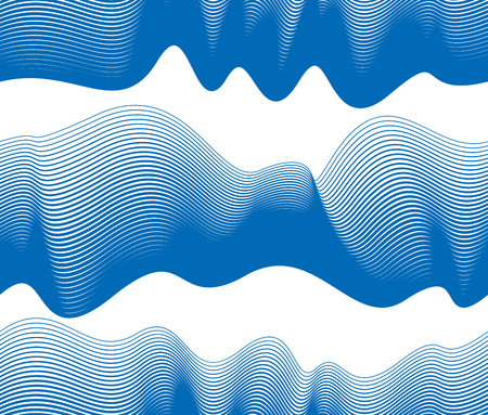 Chaotic waves seamless pattern, vector curve lines abstract repeat tiling background, blue color rhythmic waves.