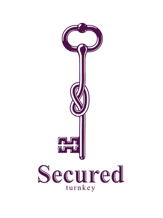 Knotted key allegorical symbol of keep secret, vintage antique turnkey in a knot, defense and security concept, password personal data protection, vector logo.