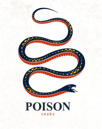 Tatuaggio vintage serpente velenoso, logo vettoriale o emblema di rettile predatore aggressivo, simbolo serpente avvelenato mortale, illustrazione in stile vintage.
