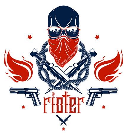 Emblème ou logo méchant de la révolution et de l'émeute avec un crâne agressif, des armes et différents éléments de conception, tatouage vectoriel, anarchie et chaos, partisan rebelle et révolutionnaire. Logo