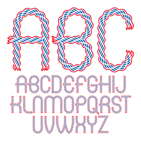 Set of vector rounded upper case alphabet letters isolated created using elegant flowing lines. Illustration