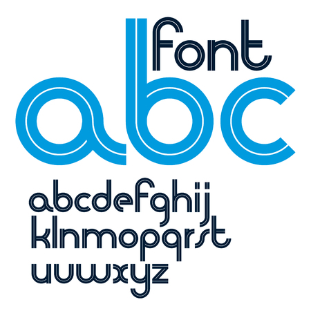 Set of vector rounded lower case English alphabet letters with white stripes, best for use in corporate logotype design. Illustration