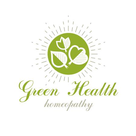 Green spring leaves vector symbol for use in holistic medicine, rehabilitation or pharmacology. Wellness and harmony symbolic emblem. Ilustração