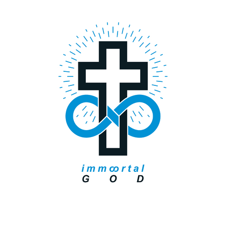 Immortal God conceptual logo design combined with infinity loop sign and Christian Cross, vector creative symbol.