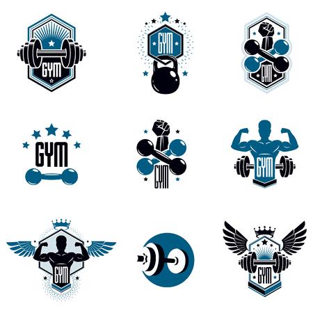 Logotypes for heavyweight gym or fitness sport gymnasium, vintage style vector emblems set. 矢量图像