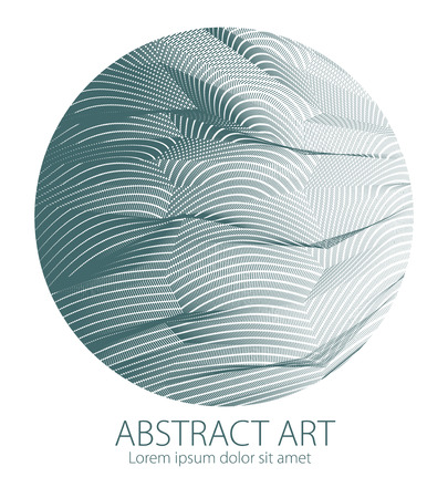 Design artistic element of great lines surface texture in a shape of circle. Vector abstract 3d perspective background for layouts, posters, banners, print and web. Trendy and cool. 일러스트