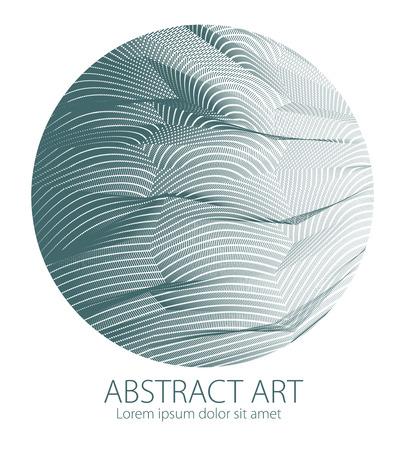 Entwerfen Sie künstlerisches Element der Oberflächenstruktur der großen Linien in einer Kreisform. Vektor abstrakter perspektivischer 3D-Hintergrund für Layouts, Poster, Banner, Druck und Web. Trendy und cool. Vektorgrafik