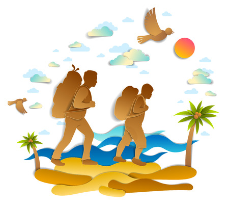 Active father and son hiking through sea beach with palms and sea waves in background, birds in the sky. Fatherhood and paternity, teenager son, hikers in nature, summer holidays, vector.