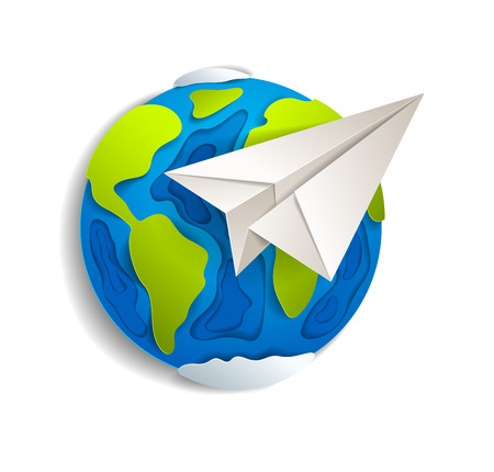 Origami folded toy plane flying around the cartoon paper cut earth, vector modern style 3d illustration isolated on white background.
