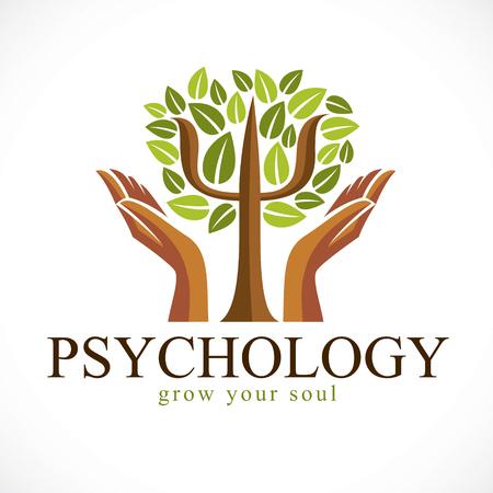 Logotipo de vector de concepto de psicología o icono creado con el símbolo griego Psi como un árbol verde con hojas y tiernas manos protectoras, concepto de salud mental, análisis de psicoanálisis y psicoterapia.