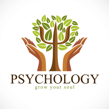 Psychology concept vector logo or icon created with Greek Psi symbol as a green tree with leaves and tender guarding hands, mental health concept, psychoanalysis analysis and psychotherapy.