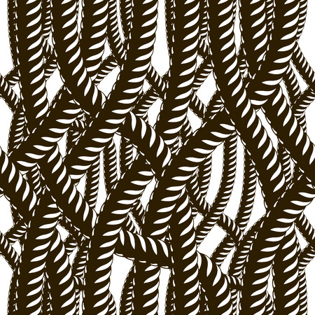 Rope seamless pattern, trendy vector wallpaper background. Tangled cord stylish illustration. Usable for fabric, wallpaper, wrapping, web and print.