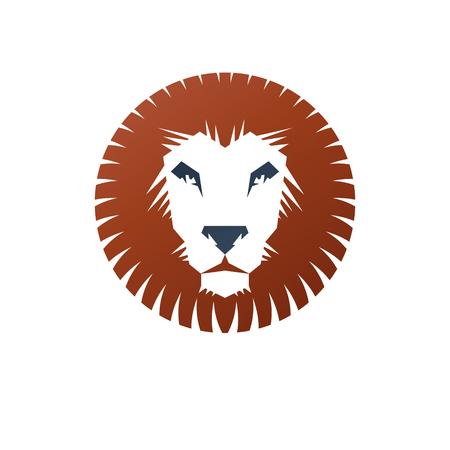 Brave Lion ancient emblem animal element. Heraldic vector design element. Retro style label, heraldry logo.