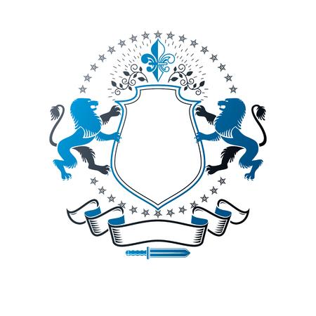 Emblème graphique avec élément animal héraldique Lion et fleur de lys. Logo décoratif blason héraldique isolé illustration vectorielle.