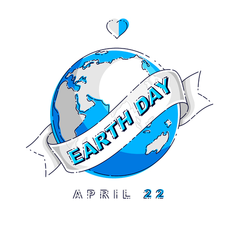 Save our planet earth, ecology eco environmental protection, climate changes, Earth Day April 22, planet with ribbon and typing vector emblem or illustration isolated over white background. Ilustracja