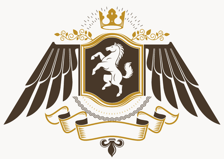 Heraldic sign made using vector vintage elements, eagle wings, horse illustration and monarch crown Archivio Fotografico - 120191689